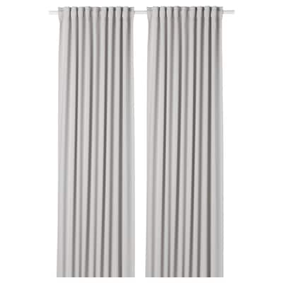 MAJGULL Room darkening curtains, 1 pair, light grey, 145x250 cm