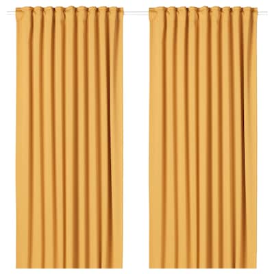 MAJGULL Room darkening curtains, 1 pair, yellow, 145x250 cm