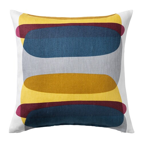 MALIN FIGUR Cushion cover Blue grey yellow 50x50 cm IKEA