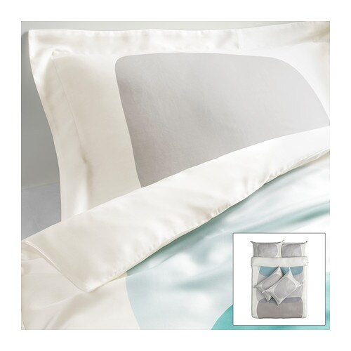 MALIN FIGUR Quilt cover and 4 pillowcases IKEA 100% lyocell, a material that absorbs and transports moisture away and keeps you dry all night long.