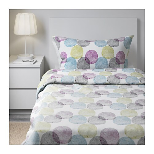 Malin rund quilt cover and 2 pillowcases multicolour 150x200 50x80 cm ikea - Piumini letto ikea ...