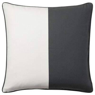 MALINMARIA Cushion cover, dark grey/white, 50x50 cm