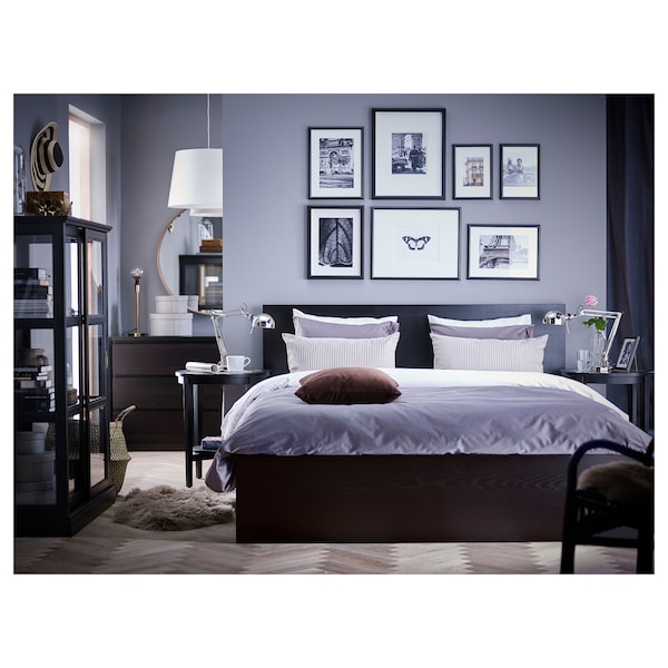 MALM Bed frame, high, black-brown/Luröy, Standard Double