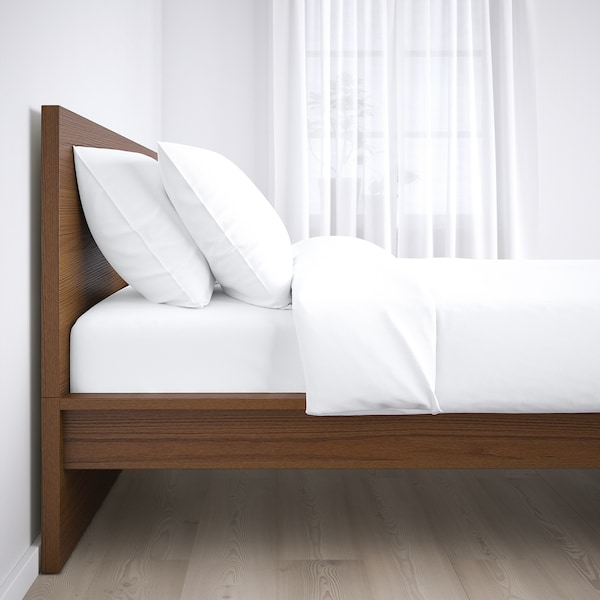 MALM Bed frame, high, brown stained ash veneer/Lönset, Standard Double