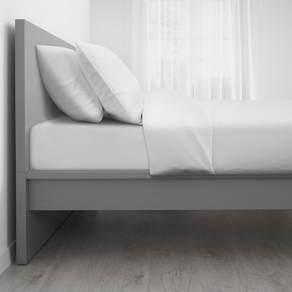MALM Bed frame, high, grey stained/Luröy, Standard Double