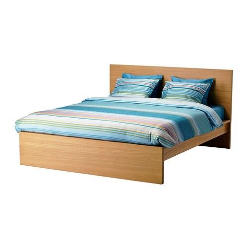 MALM Bed frame, high Oak veneer/leirsund 160x200 cm - IKEA