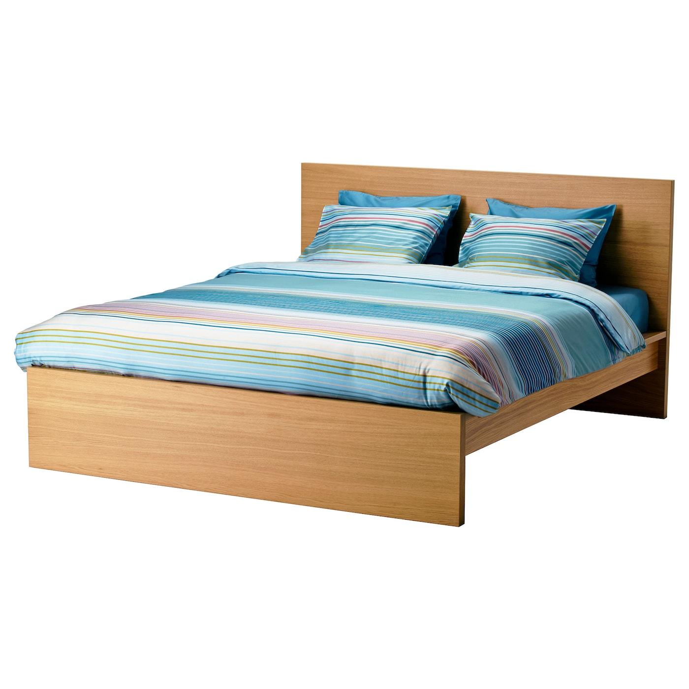 malm bed frame high oak veneer leirsund 180x200 cm ikea. Black Bedroom Furniture Sets. Home Design Ideas