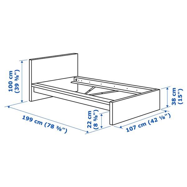 MALM Bed frame, high, oak veneer/Leirsund, Standard Single
