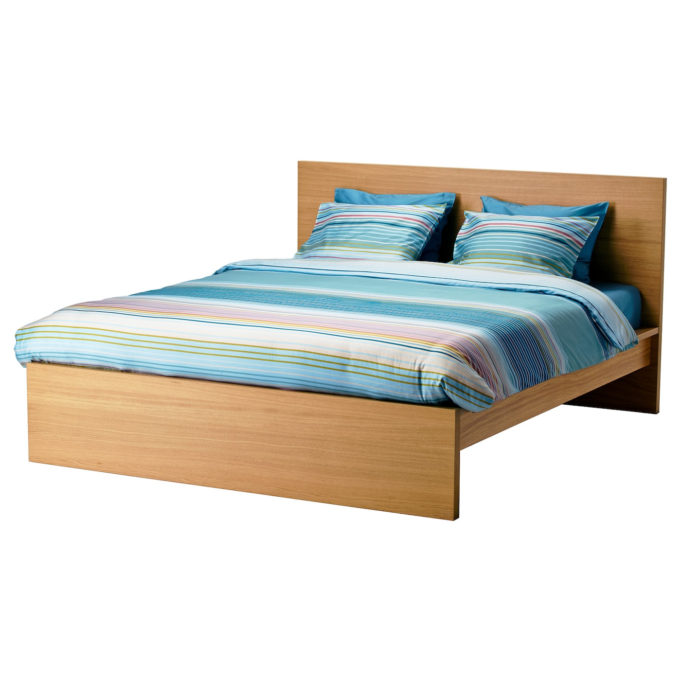 Malm bed frame high oak veneer lur y standard double ikea for Full size bed ikea