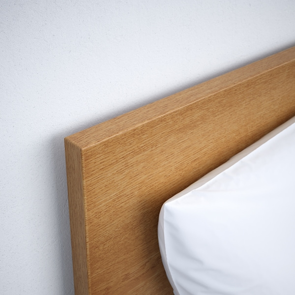 MALM Bed frame, high, oak veneer/Luröy, Standard Double