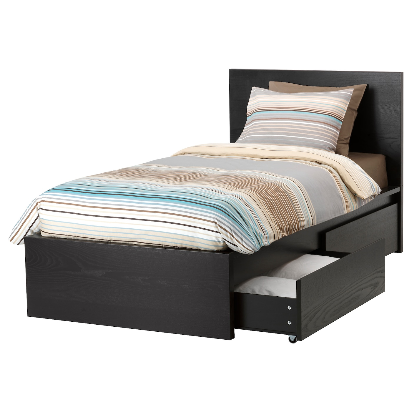 MALM Bed frame, high, w 2 storage boxes Black-brown/luröy Standard ...