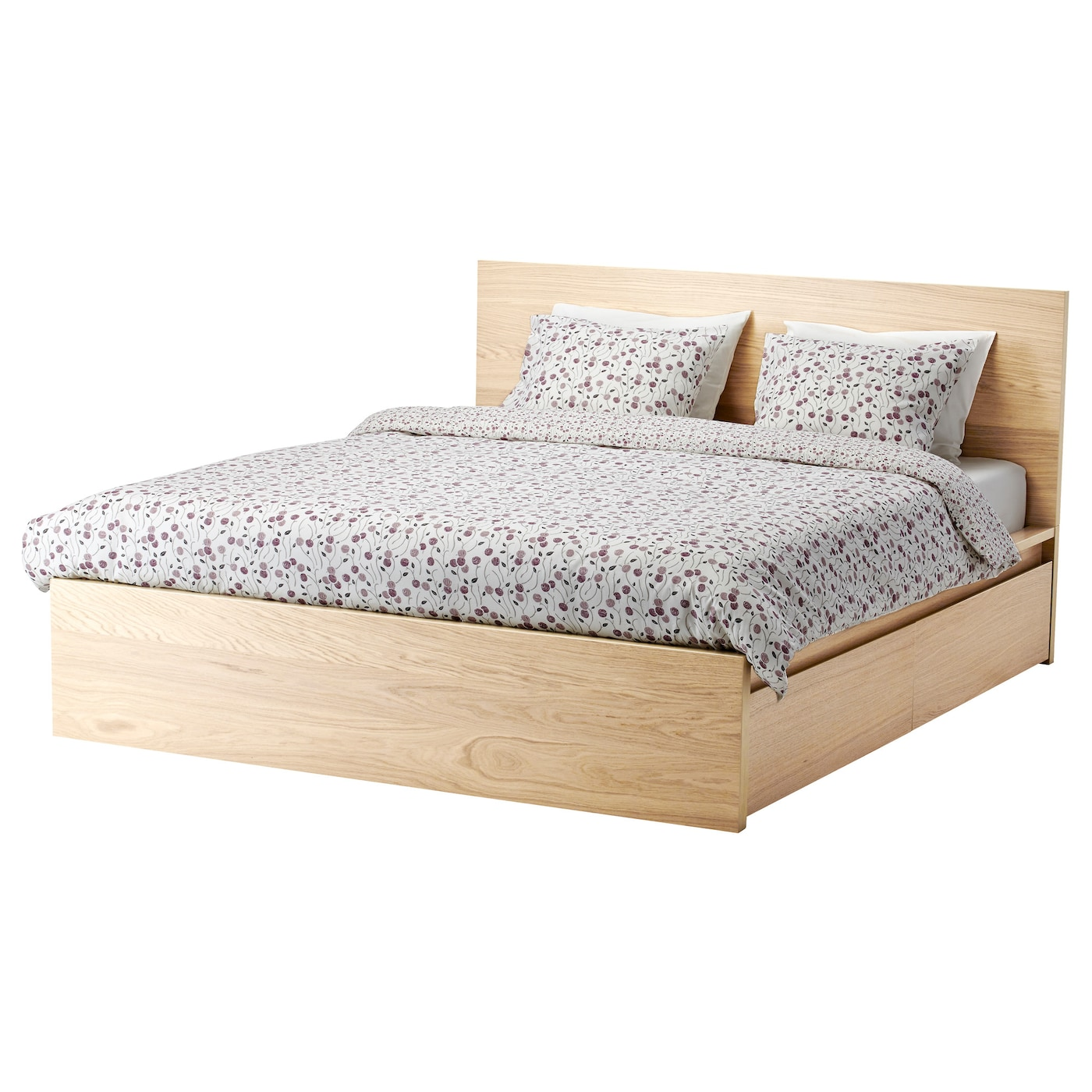 IKEA MALM bed frame, high, w 2 storage boxes Real wood veneer will make this bed age gracefully.
