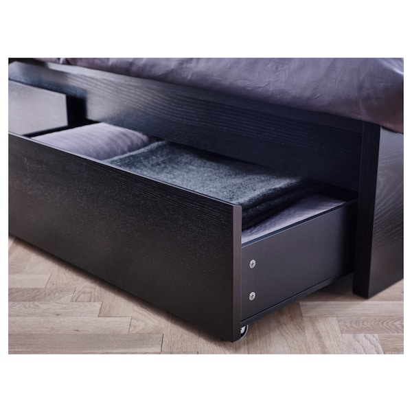 MALM Bed frame, high, w 4 storage boxes, black-brown/Lönset, Standard Double