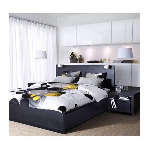 malm bed frame high w 4 storage boxes black brown lur y. Black Bedroom Furniture Sets. Home Design Ideas