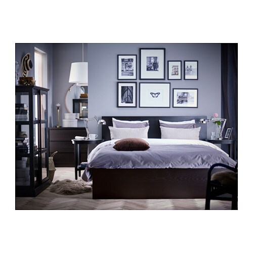 malm bed frame high w 4 storage boxes black brown lur y 160x200 cm ikea. Black Bedroom Furniture Sets. Home Design Ideas