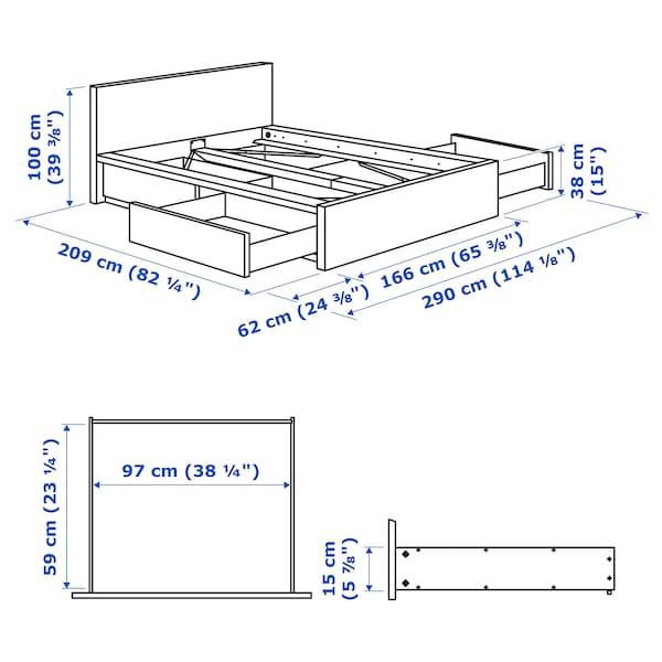 MALM Bed frame, high, w 4 storage boxes, black-brown/Luröy, Standard King