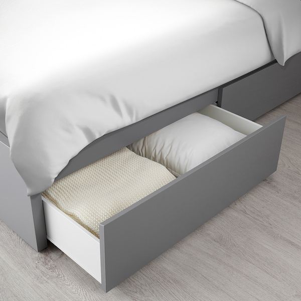 MALM Bed frame, high, w 4 storage boxes, grey stained/Lönset, Standard Double