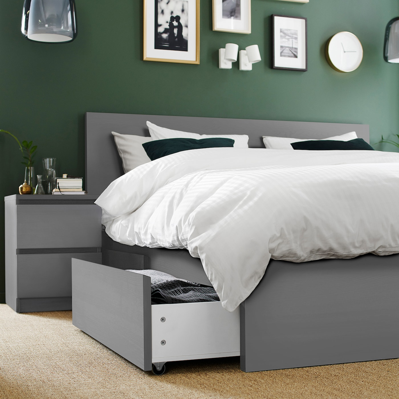 Malm Bed Frame High W 4 Storage Boxes Grey Stained Luroy Standard Double Ikea