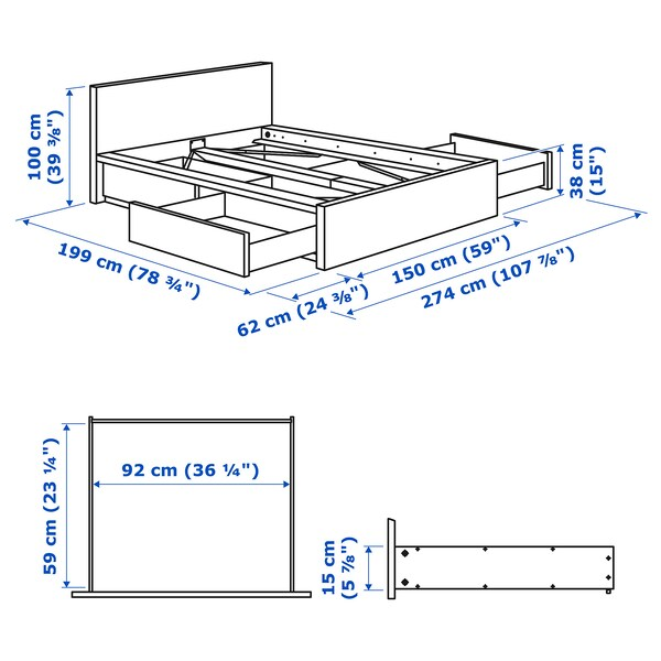 MALM Bed frame, high, w 4 storage boxes, grey stained, Standard Double