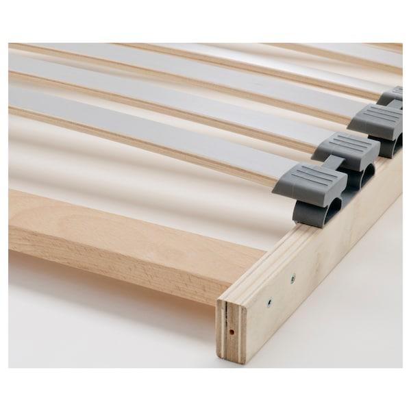MALM Bed frame, high, w 4 storage boxes, oak veneer/Lönset, Standard Double