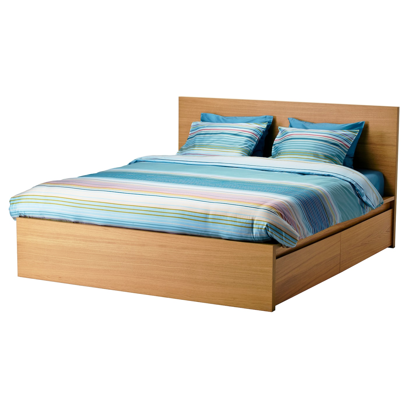 MALM Bed frame, high, w 4 storage boxes Oak veneer/luröy Standard ...
