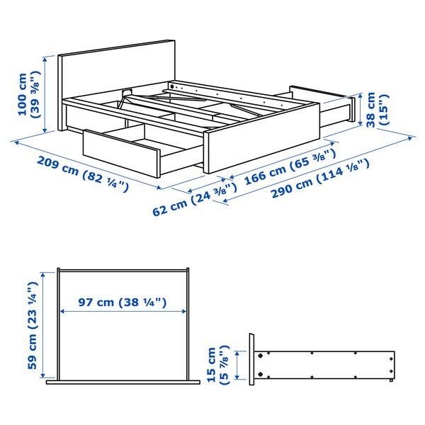 MALM Bed frame, high, w 4 storage boxes, oak veneer/Luröy, Standard King