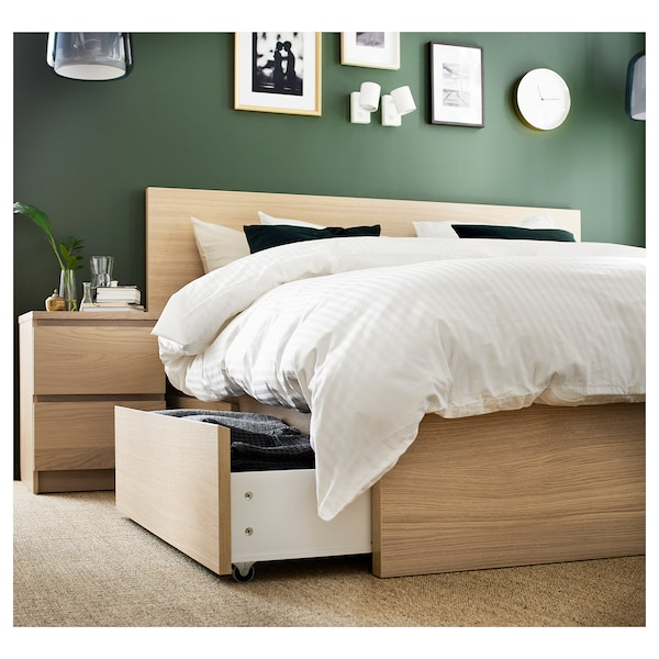 MALM Bed frame, high, w 4 storage boxes, white stained oak veneer/Lönset, Standard Double