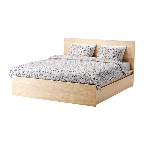 MALM Bed frame high w 4 storage boxes White stained oak veneer