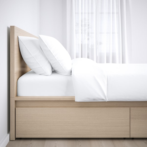 MALM Bed frame, high, w 4 storage boxes, white stained oak veneer/Luröy, Standard Double