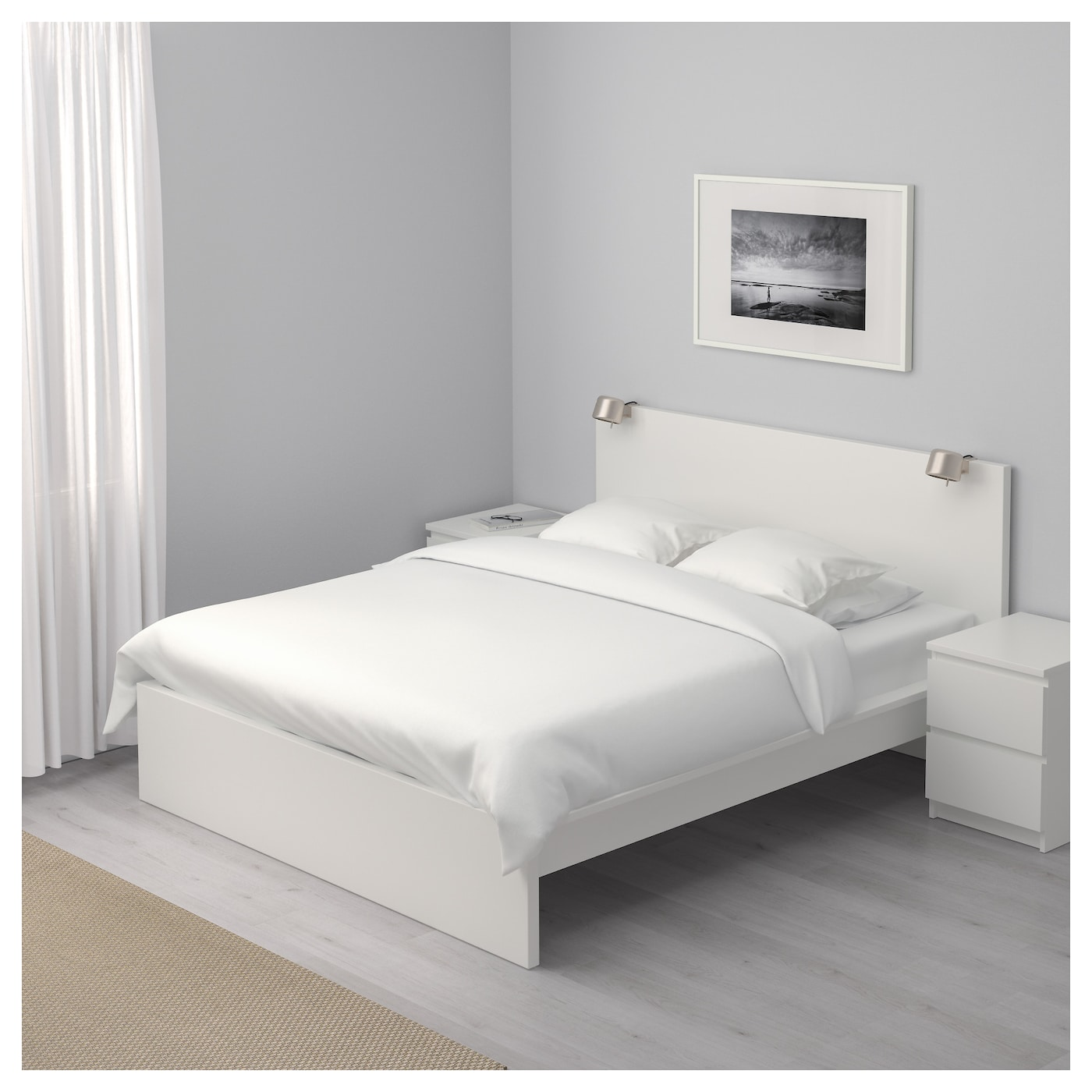 malm bed frame high white l nset standard king ikea. Black Bedroom Furniture Sets. Home Design Ideas