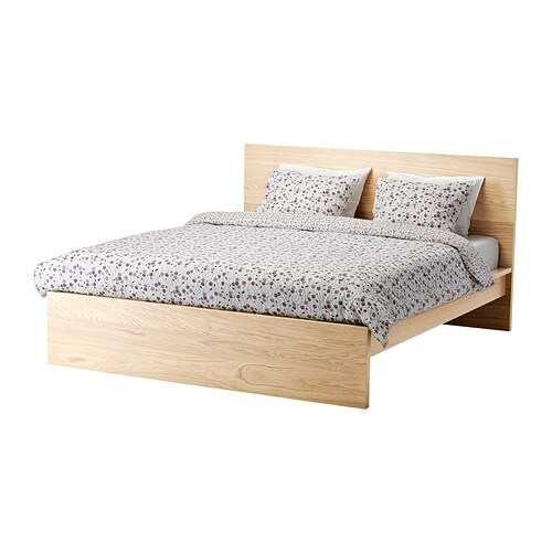 MALM Bed frame, high White stained oak veneer/luröy Standard Double ...