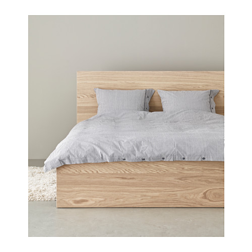 MALM Bed frame, high White stained oak veneerluröy