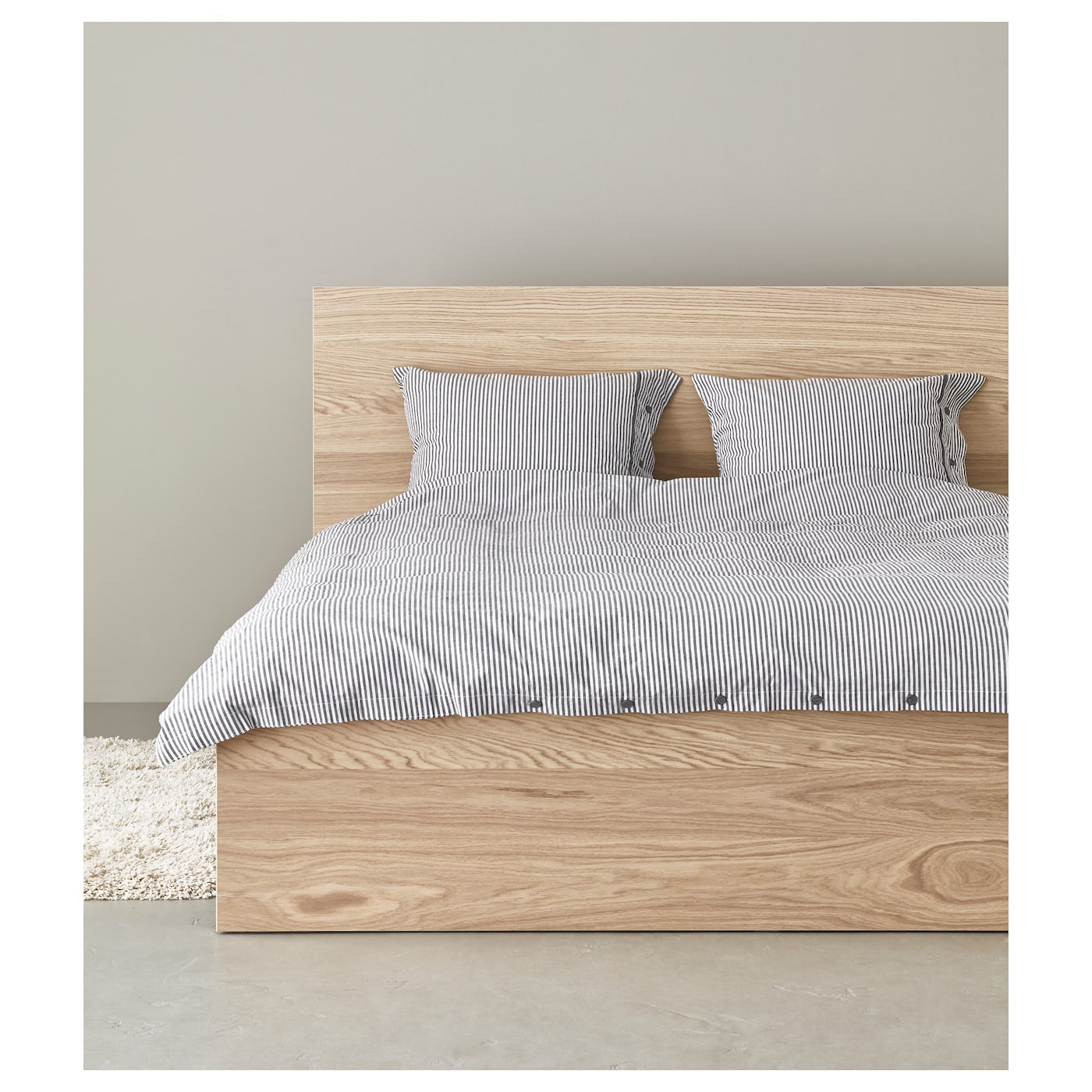 Malm bed frame high white stained oak veneer lur y standard double ikea - Tete de lit ikea malm ...