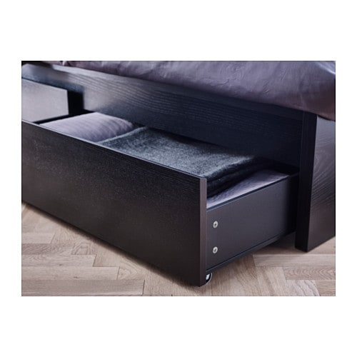 Malm bed frame with 4 storage boxes black brown lur y standard double ikea - Tete de lit ikea malm ...