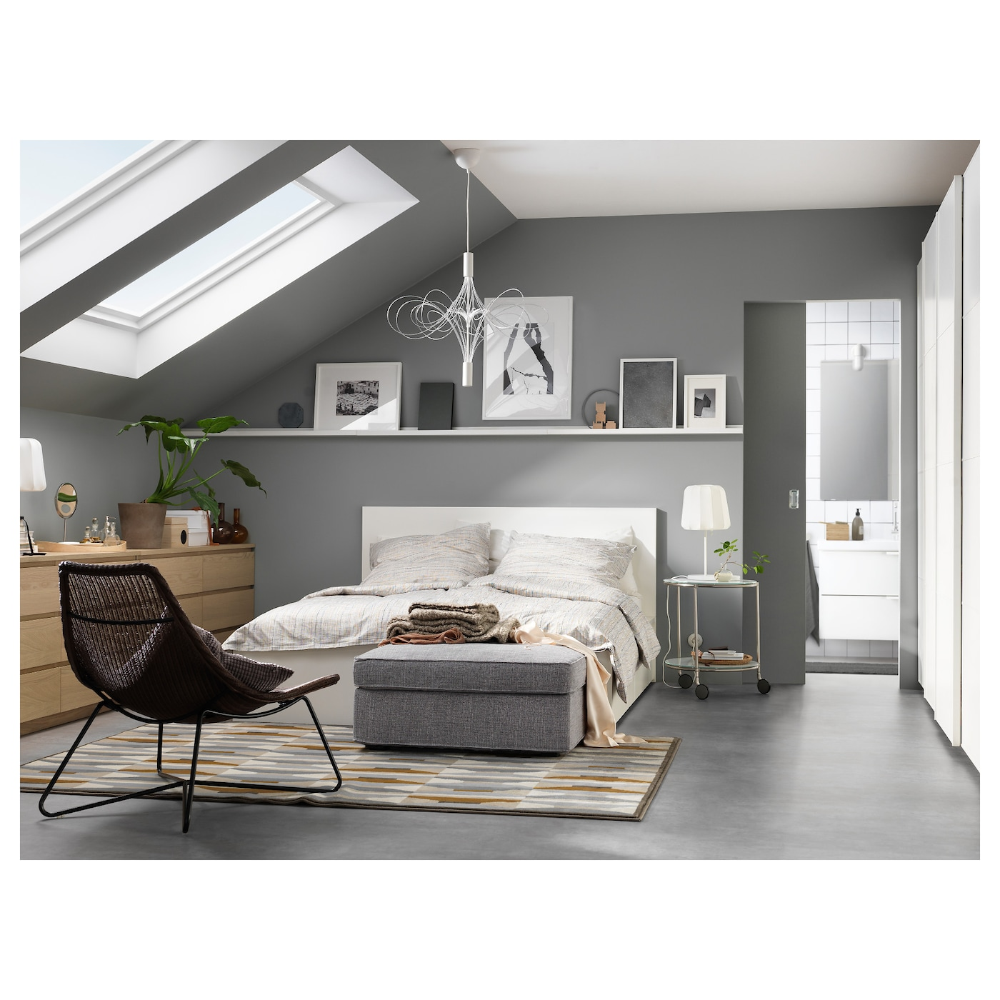 ikea malm bed frame with 4 storage boxes