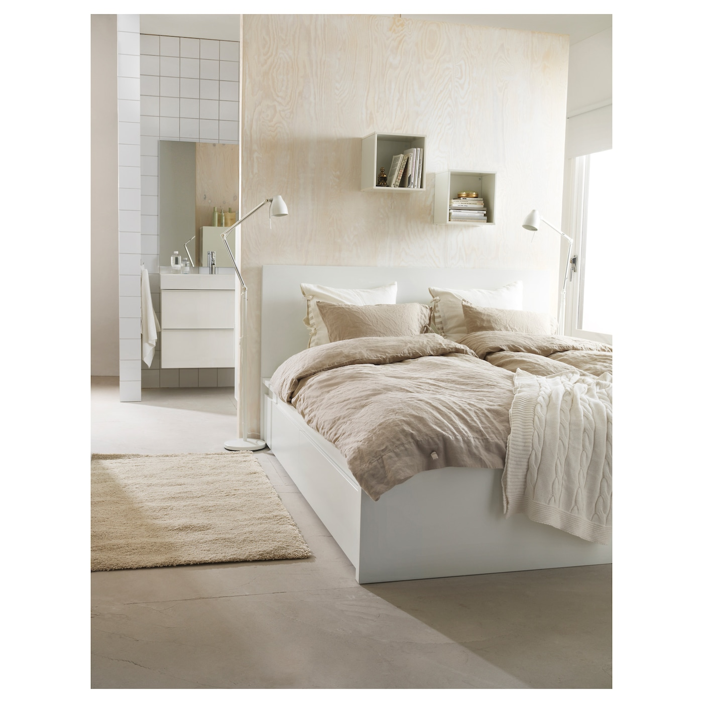 Malm bed frame with 4 storage boxes white lur y standard double ikea - Chambre ikea malm ...