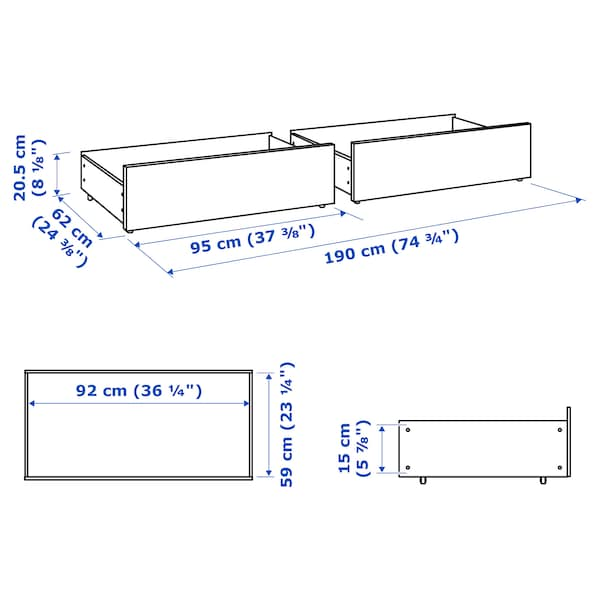 MALM Bed storage box for high bed frame, white, Single/double