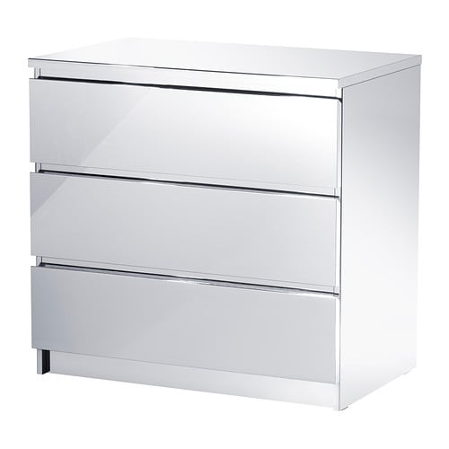 MALM Chest of 3 drawers IKEA Drawer with integrated damper that catches the running drawer so that it closes slowly, silently and softly.