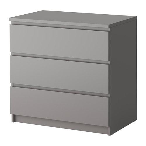 Malm chest of 3 drawers grey ikea - Comoda malm ikea ...