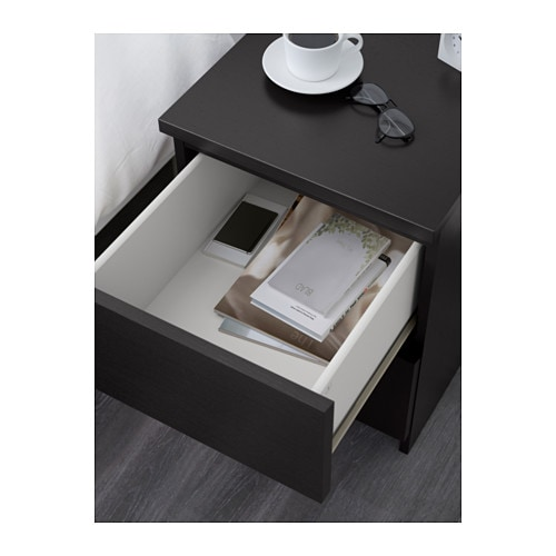 Malm chest of 2 drawers black brown 40x55 cm ikea - Petite table de nuit ...