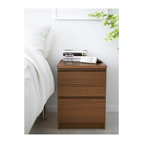 Malm chest of 2 drawers brown stained ash veneer 40x55 cm - Mesa auxiliar malm ikea ...