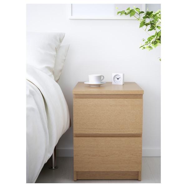 MALM Chest of 2 drawers, oak veneer, 40x55 cm
