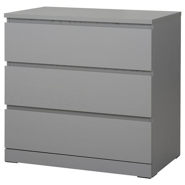 Malm Chest Of 3 Drawers Grey Stained