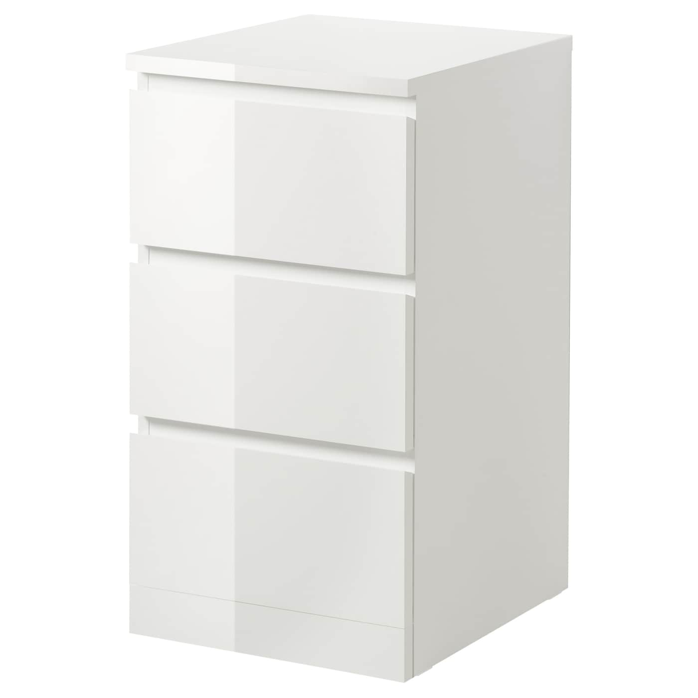 MALM Chest Of 3 Drawers High Gloss White 40x78 Cm IKEA