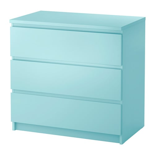 Malm chest of 3 drawers light turquoise 80x78 cm ikea for Ikea turquoise shelf