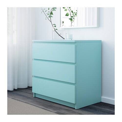 malm chest of 3 drawers light turquoise 80x78 cm ikea. Black Bedroom Furniture Sets. Home Design Ideas
