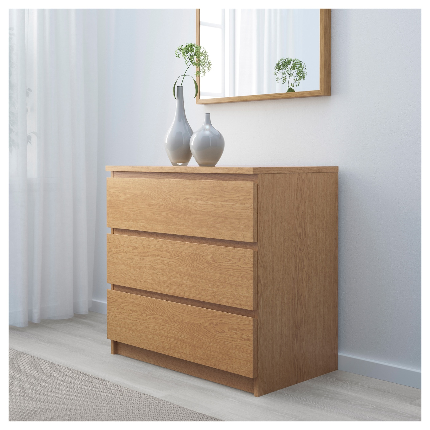 malm chest of 3 drawers oak veneer 80x78 cm ikea. Black Bedroom Furniture Sets. Home Design Ideas