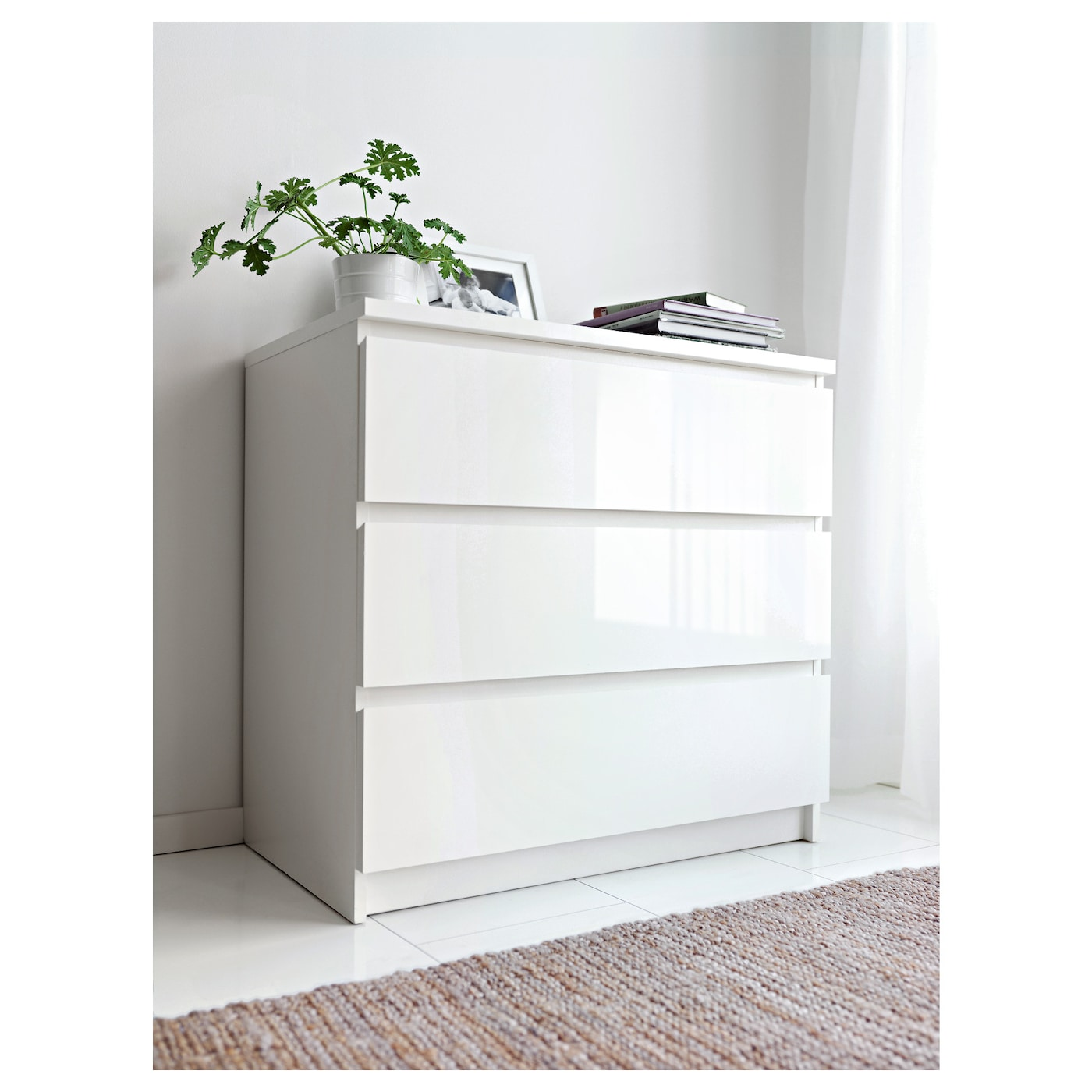 MALM Chest of 3 drawers White/high-gloss 80 x 78 cm