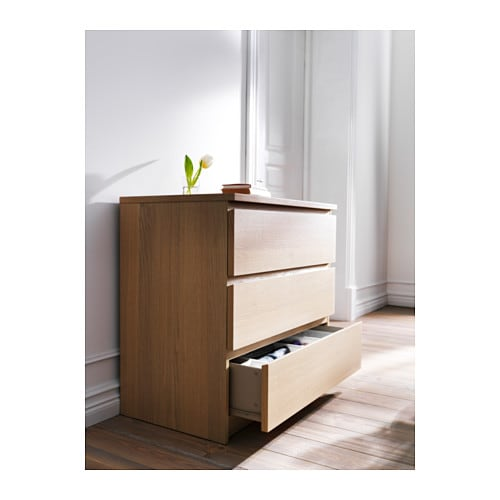 malm chest of 3 drawers white stained oak veneer 80x78 cm. Black Bedroom Furniture Sets. Home Design Ideas