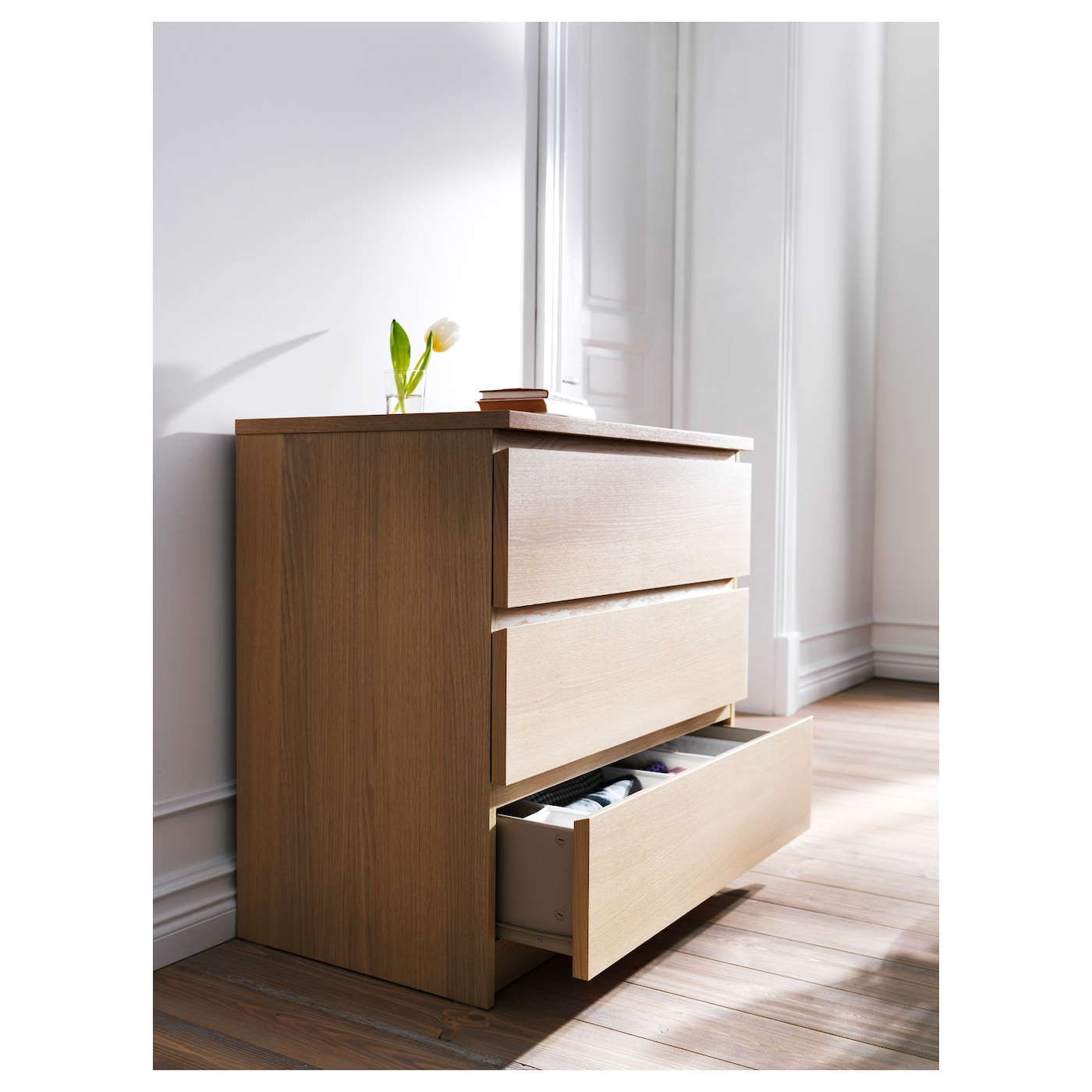 malm chest of 3 drawers white stained oak veneer 80 x 78. Black Bedroom Furniture Sets. Home Design Ideas